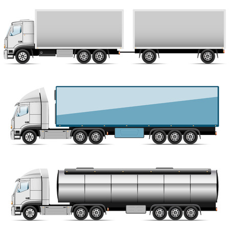 cargo truck: Illustration set of icons trucks  Vector  Illustration