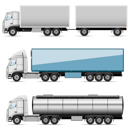 camión cisterna: Ilustración conjunto de iconos de camiones Vector Vectores