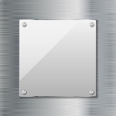 tuercas y tornillos: Fondo del metal con marco de cristal Ilustración vectorial