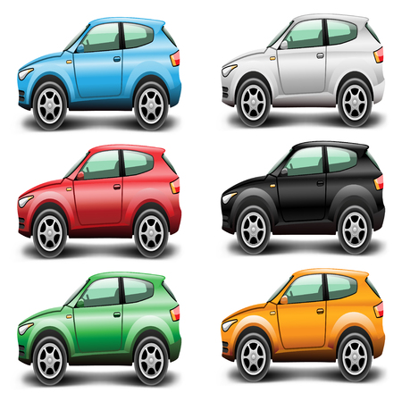 Icons Car SUV of different colors on a white background  Vector illustration  Vector