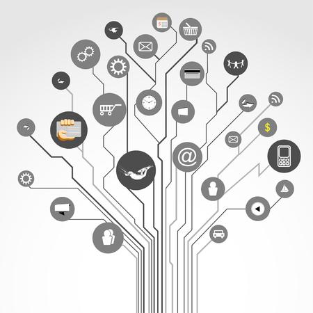 Illustration circuit board tree shape and social media icons  Vector   Vector