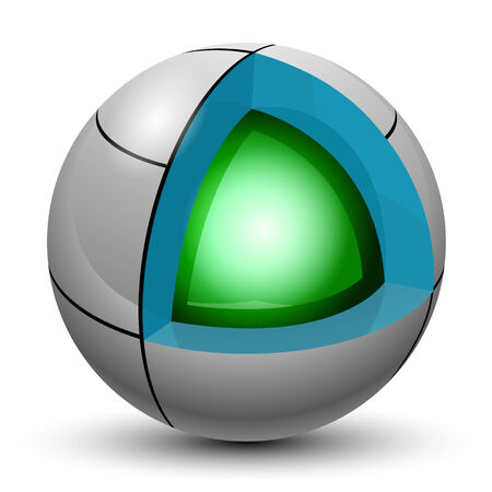 incision: Illustration Green ball into a sphere on a white background.  Illustration