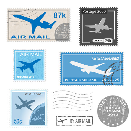 airmail: Set of postal mark, stamps. Vector icon.