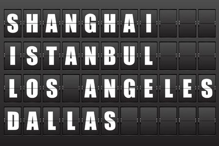 Flight destination, information display board named world cities Shanghai, Istanbul, Los Angeles, Dallas.