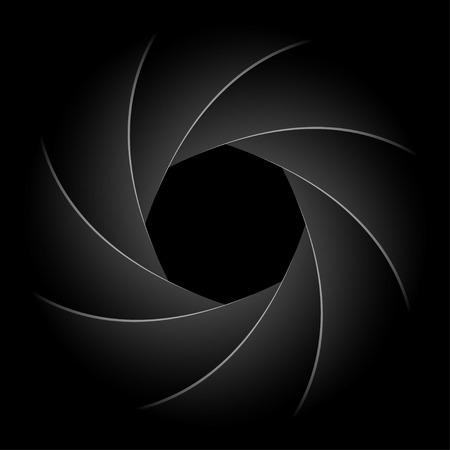 Illustration of camera shutter on black background.