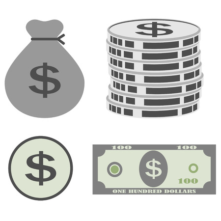 dollar sign icon: Illustration Money and Coin Icon set.