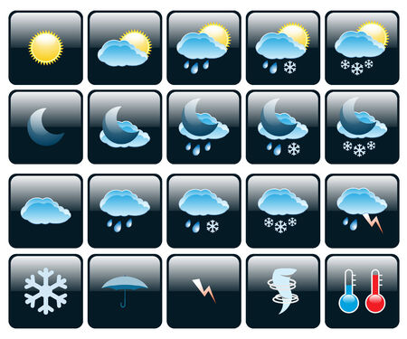 Set of Icons on a theme Weather. Illustration.  Vector