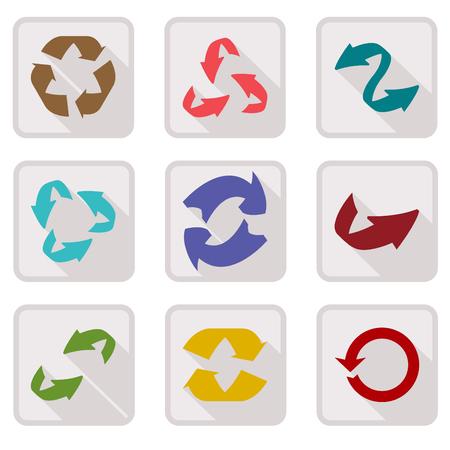 stored: Icon set of round arrow icons