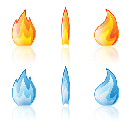 Flame icon set isolated on a white background Vettoriali