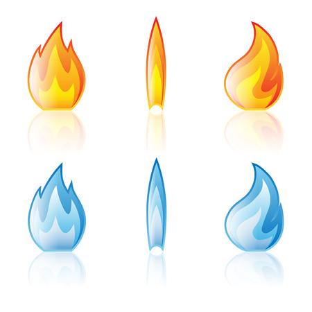 butane: Flame icon set isolated on a white background Illustration