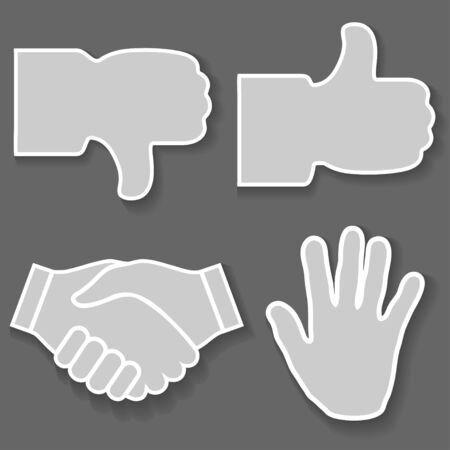 good bad: Illustration ic�ne main. Signes avec ses mains, bon, mauvais, arr�ter, poign�e de main Illustration