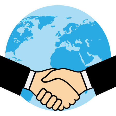 partners: Handshake of business partners, against the background of the Earth.