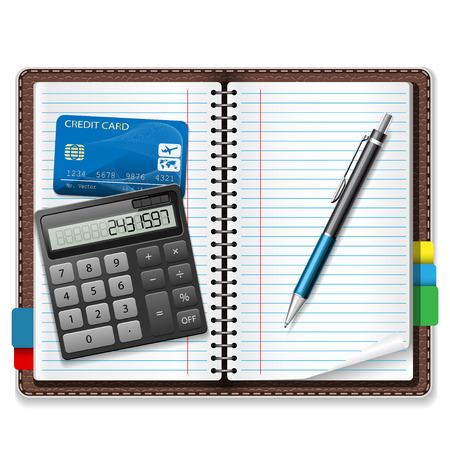 Calculator, pen, notebook, a credit card on a white background.