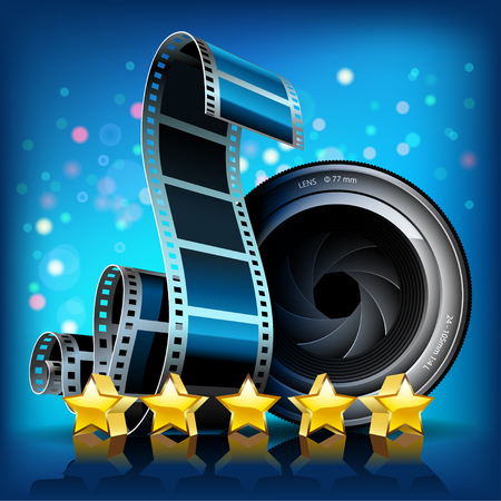 telephoto: Film, stars and camera lens on blue background. Vector Illustration.