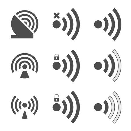 radio station: Wifi set icon for radio waves isolated on white background. Vector illustration. Illustration