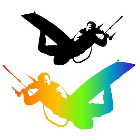 kite surfing: Kite Rider geïsoleerd op witte achtergrond. Illustratie. Vector.