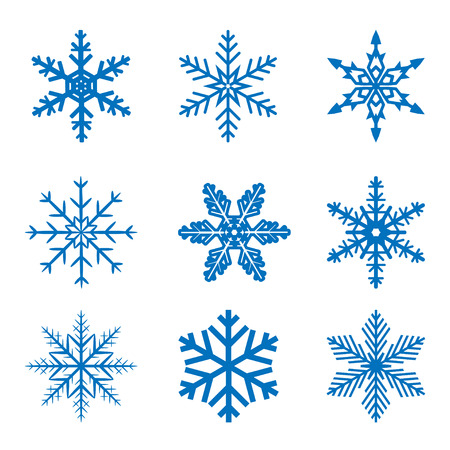 llustration set blue Snowflake isolated on white background. Vector. Çizim