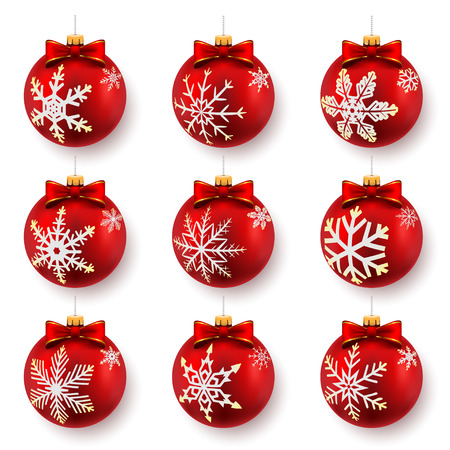 bowknot: Red ?hristmas balls isolated on white. Set. Vector illustration.