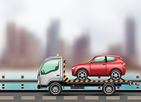 Tow truck loaded up the car against the background of the modern city to the beach. Vector illustration. Vector