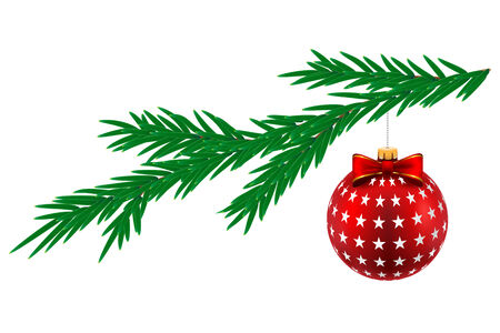 pine tree isolated: Christmas ball with stars and pine tree isolated on white background. Vector Illustration.