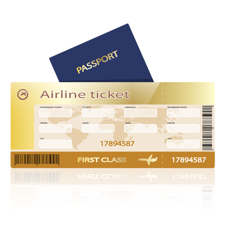 flight board: Airline ticket and passport isolated on white background. Illustration. Vector
