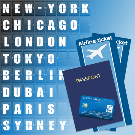 display board: Airline ticket, credit card and passport on scoreboard background. Flight destination, information display board named world cities Illustration. Vector