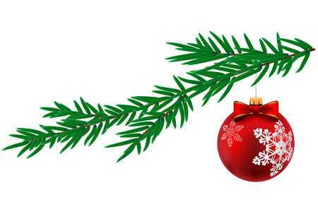 pine tree isolated: Christmas ball with snowflake and pine tree isolated on white background. Vector Illustration.