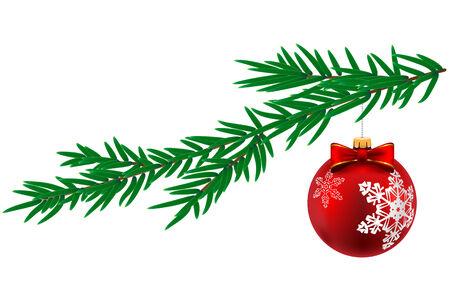 albero pino: Palla di Natale con fiocco di neve e albero di pino isolato su sfondo bianco. Illustrazione vettoriale.