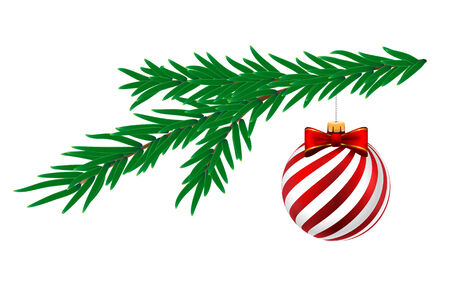 pine tree isolated: Christmas ball with white stripes and pine tree isolated on white background. Vector Illustration. Illustration