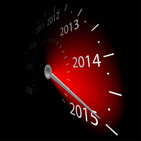 Speedometer with the date 2015. Vector illustration. Vector