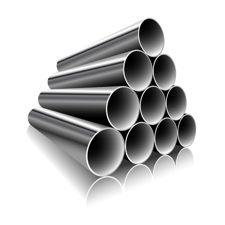Steel Pipes on a white background. Vector illustration.