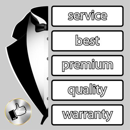 dressy: Business banner. Tuxedo, service premium quality. Illustration. Vector. Illustration
