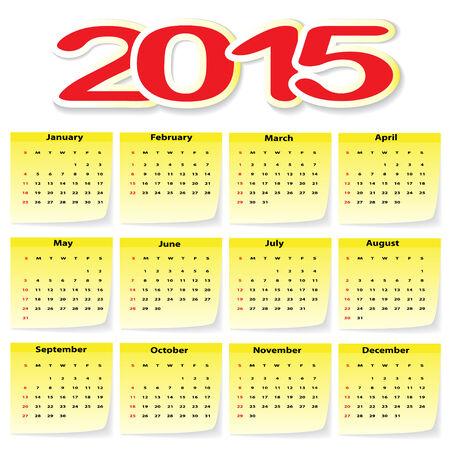 Calendar 2015 in yellow Stickers. Illustration, vector. Vector