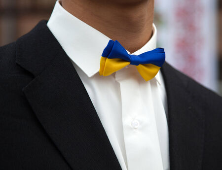 Tuxedo with bow tie colors of the flag of Ukraine. photo