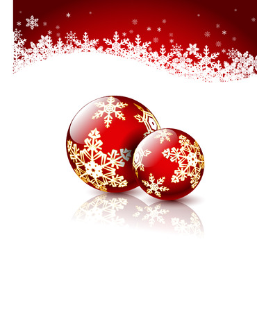 bowknot: Christmas Red Balls on white.