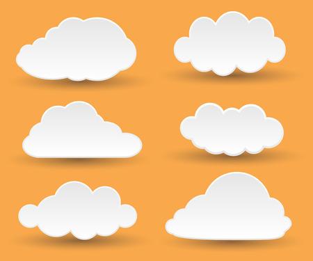 Berichten in de vorm van witte wolken. Stock Illustratie