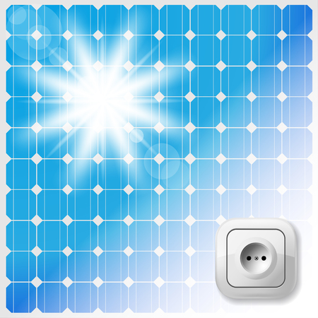 alternating current: Solar Panel, Sun and Electric Socket.