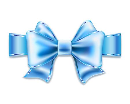 regard: Blue bow isolated on white. Vector illustration.