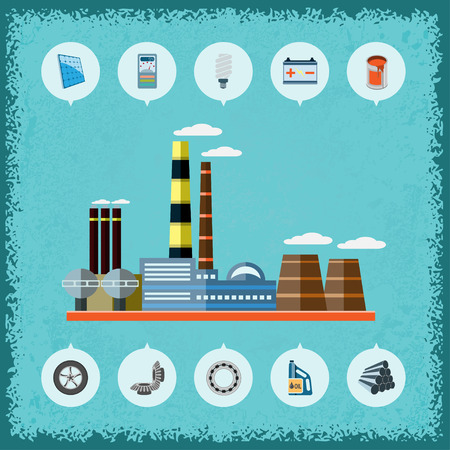 ammeter: Illustration of plant with icons of industrial production. Vector. Illustration