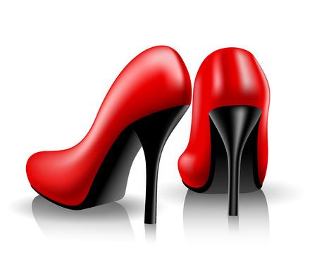 tacones rojos: Mujeres los zapatos rojos sobre fondo blanco. Ilustración del vector.