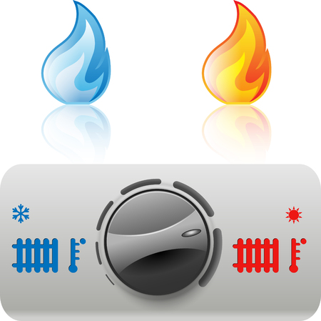 gas fire: Regulator boiler heating and hot water. Flame icon. Vector. Illustration Illustration