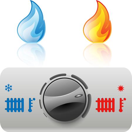 regulator: Regulator boiler heating and hot water. Flame icon. Vector. Illustration Illustration