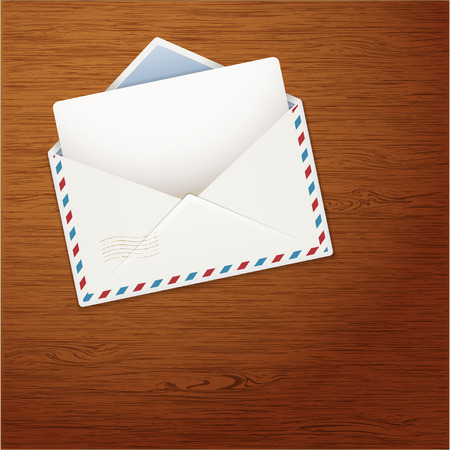 grungy email: Envelope on Wooden Background. Vector illustration.