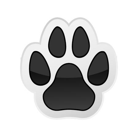 huellas de perro: La pata del estampado de animales aislados en blanco. Icono. Vector. Ilustraci�n. Vectores