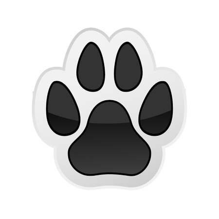 Animal Paw Print Isolated on White. Icon. Vector. Illustration. Vettoriali