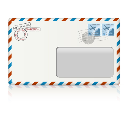 postal stamp: Air mail envelope with postal stamp on white background.