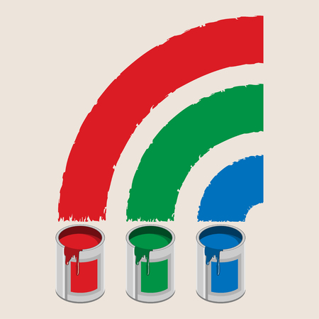 paint cans: Cans of paint and rainbow. Icon