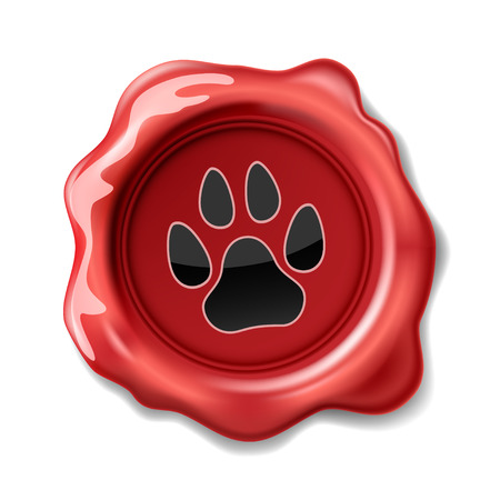 Animal Paw Print on the Wax Seal. Icon.  Vectores