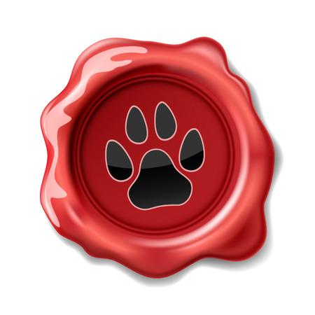 gato caricatura: Animal de la pata en Imprimir en el sello de la cera. Icono.