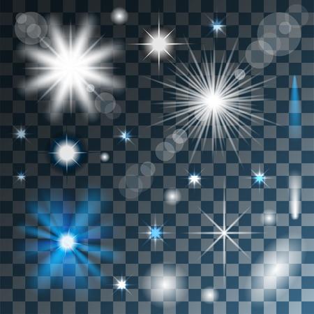 Gloeiende sterren, verlichting en schittert op transparante achtergrond. Vector. Illustratie. Stock Illustratie